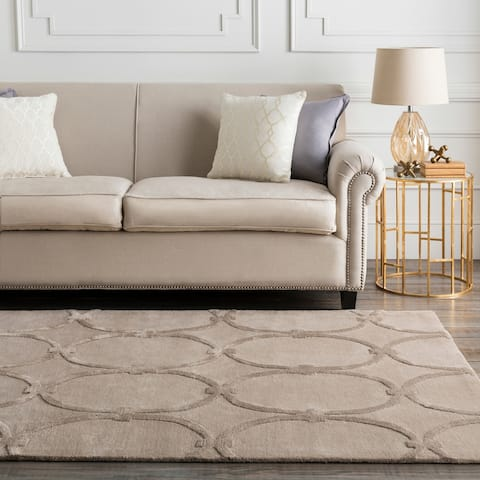"Hand-tufted Tan Acropolis Trellis Pattern Wool Area Rug - 3'3"" x 5'3"""