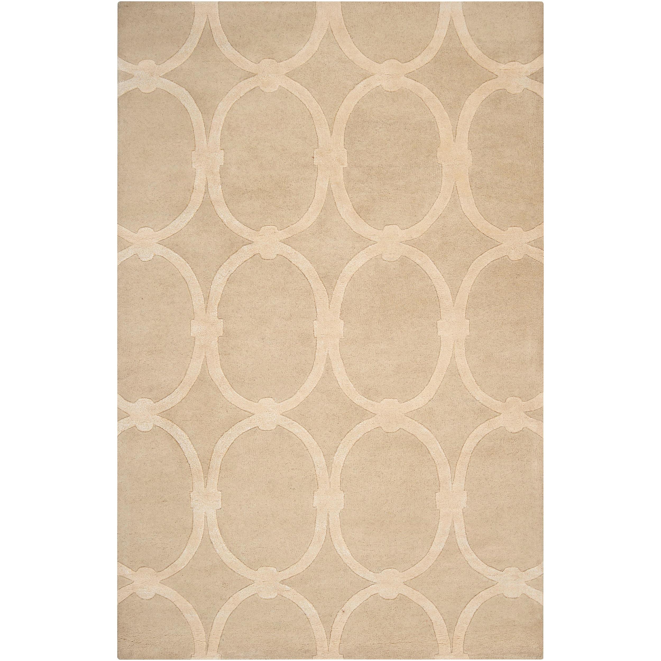 Hand-tufted Tan Acropolis Trellis Pattern Wool Rug (8' x 11')