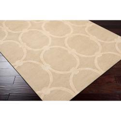 Hand-tufted Tan Acropolis Trellis Pattern Wool Rug (8' x 11') - Thumbnail 1