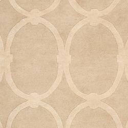 Hand-tufted Tan Acropolis Trellis Pattern Wool Rug (8' x 11') - Thumbnail 2
