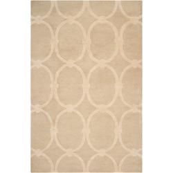 Hand-tufted Tan Acropolis Trellis Pattern Wool Area Rug (8' x 11') - Thumbnail 0