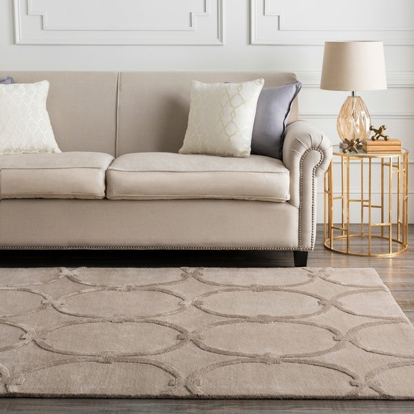 Hand-tufted Tan Acropolis Trellis Pattern Wool Area Rug - 9' x 13'