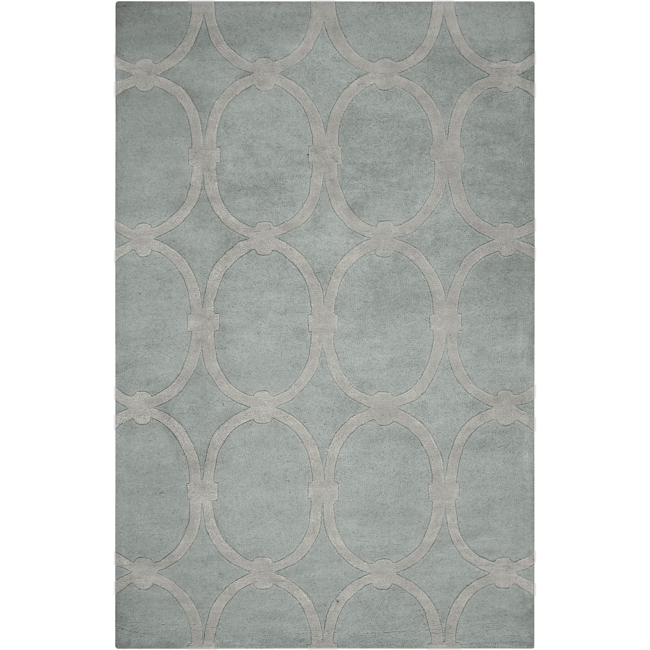 Hand-tufted Blue Colosseum Trellis Pattern Wool Rug (3'3 x 5'3)