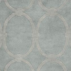 Hand-tufted Blue Colosseum Trellis Pattern Wool Rug (3'3 x 5'3) - Thumbnail 2