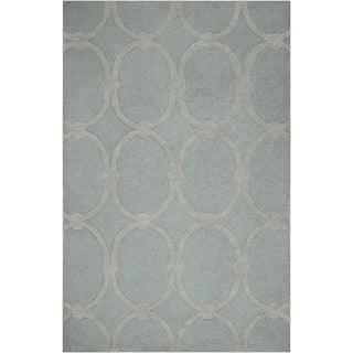 Hand-tufted Blue Colosseum Trellis Pattern Wool Area Rug - 5' x 8'