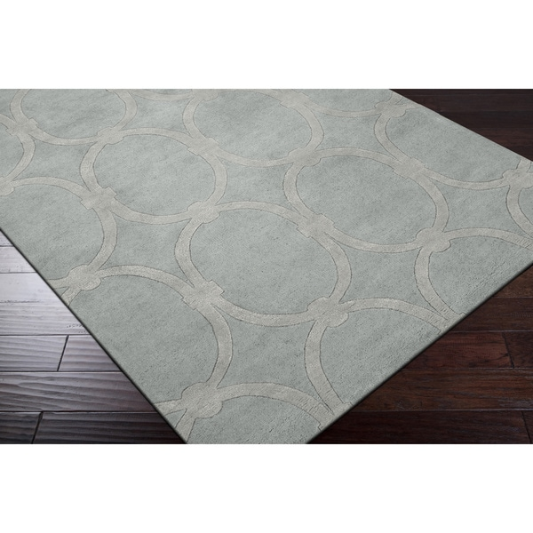 Hand-tufted Blue Colosseum Trellis Pattern Wool Area Rug (8' x 11')