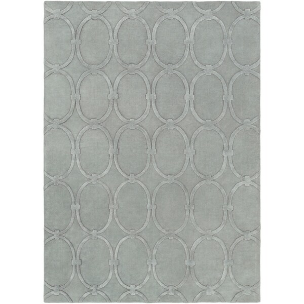 Hand-tufted Blue Colosseum Trellis Pattern Wool Area Rug - 8' x 11'