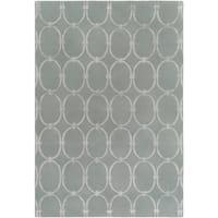 Hand-tufted Blue Colosseum Trellis Pattern Wool Area Rug - 9' x 13'