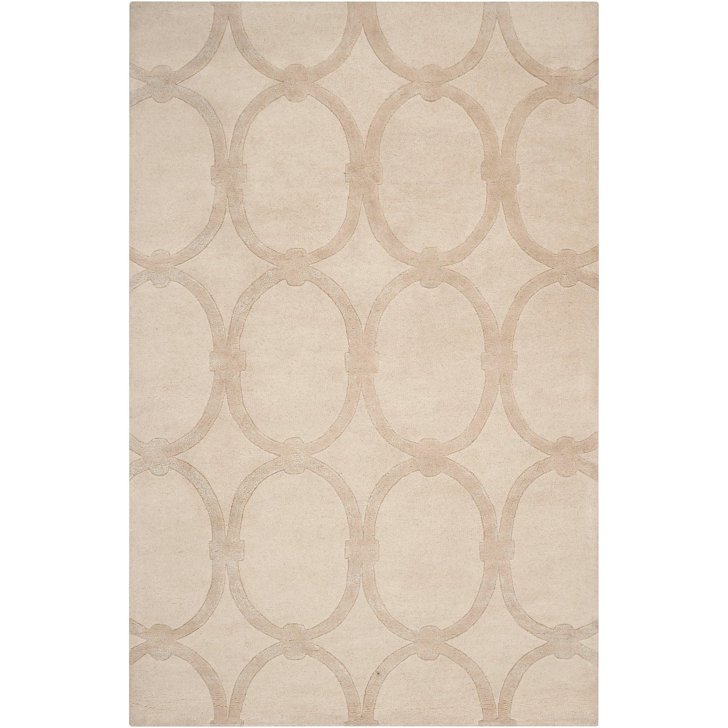 Hand-tufted Beige Alhambra Trellis Pattern Wool Area Rug (3'3 x 5'3)