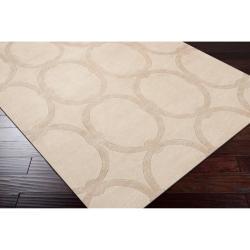 Hand-tufted Beige Alhambra Trellis Pattern Wool Rug (3'3 x 5'3) - Thumbnail 1