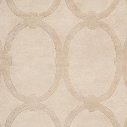 Hand-tufted Beige Alhambra Trellis Pattern Wool Rug (3'3 x 5'3) - Thumbnail 2