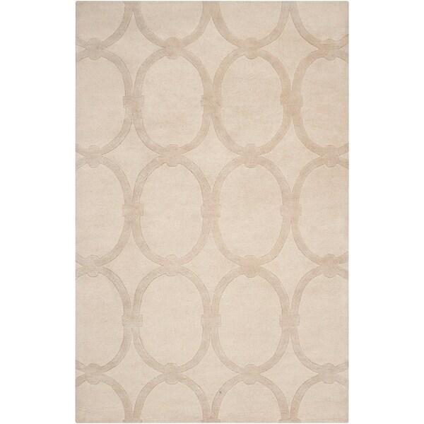 Hand-tufted Beige Alhambra Trellis Pattern Wool Area Rug - 5' x 8'