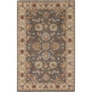 Hand-tufted Abita Gray Traditional Border Wool Area Rug - 9 x 12/Surplus (Grey/Ecru - 9 x 12/Surplus)