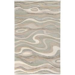 Hand-tufted Grey Minotaur Abstract Waves Wool Area Rug - 8' x 11' - Thumbnail 0