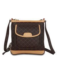 Rioni Brown Leather Mini Messenger Handbag