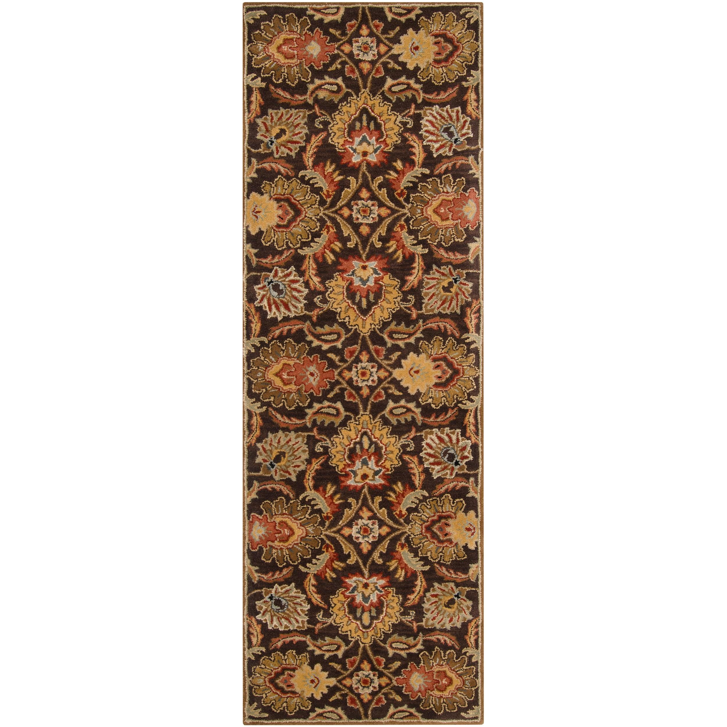 Hand-tufted Alafia Chocolate Brown Floral Wool Rug (2'6 x 8')