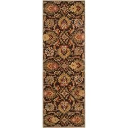Hand-tufted Alafia Chocolate Brown Floral Wool Rug (2'6 x 8')