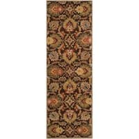 Hand-tufted Alafia Chocolate Brown Floral Wool Area Rug (2'6 x 8')
