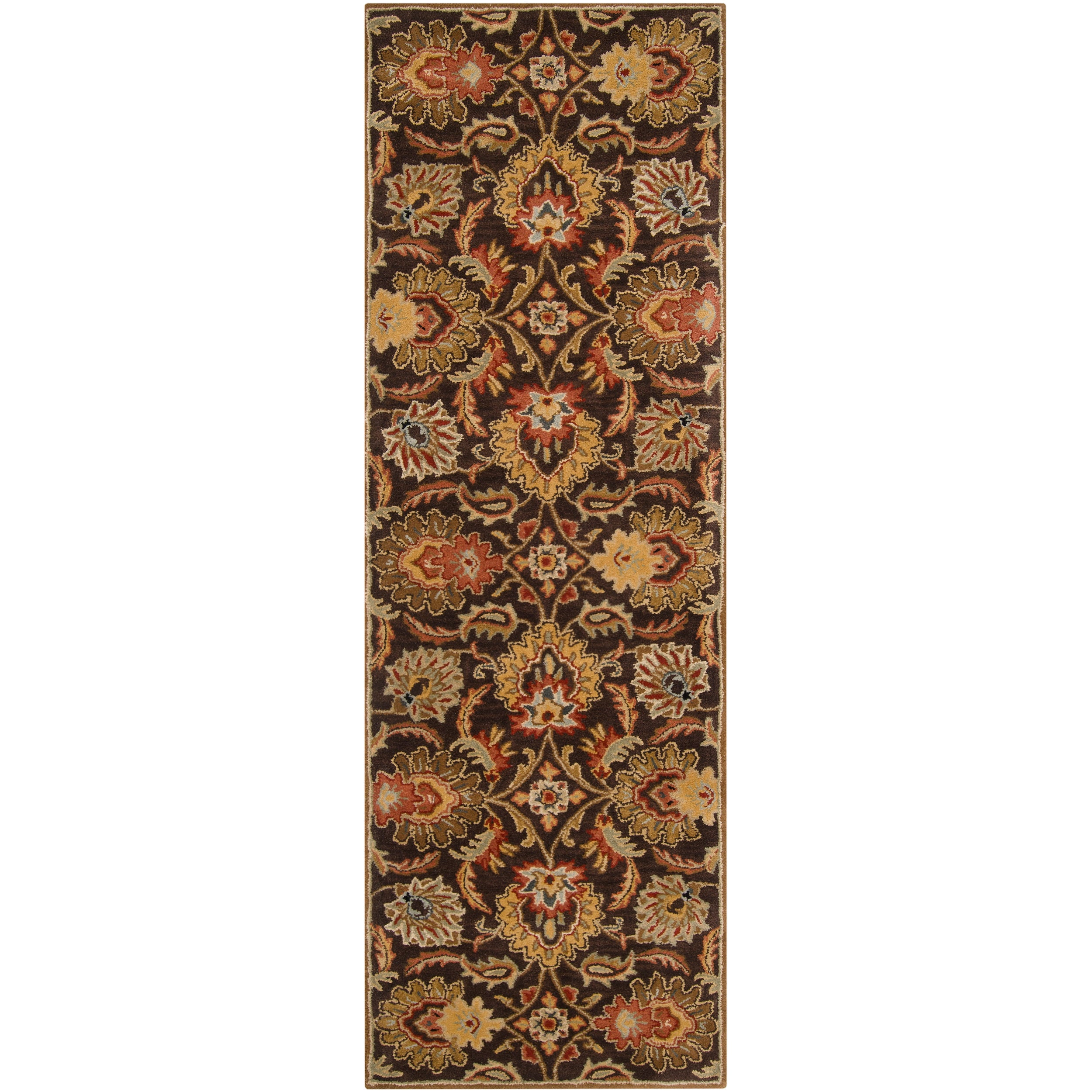 Hand-tufted Alafia Chocolate Brown Floral Wool Rug (3' x 12')
