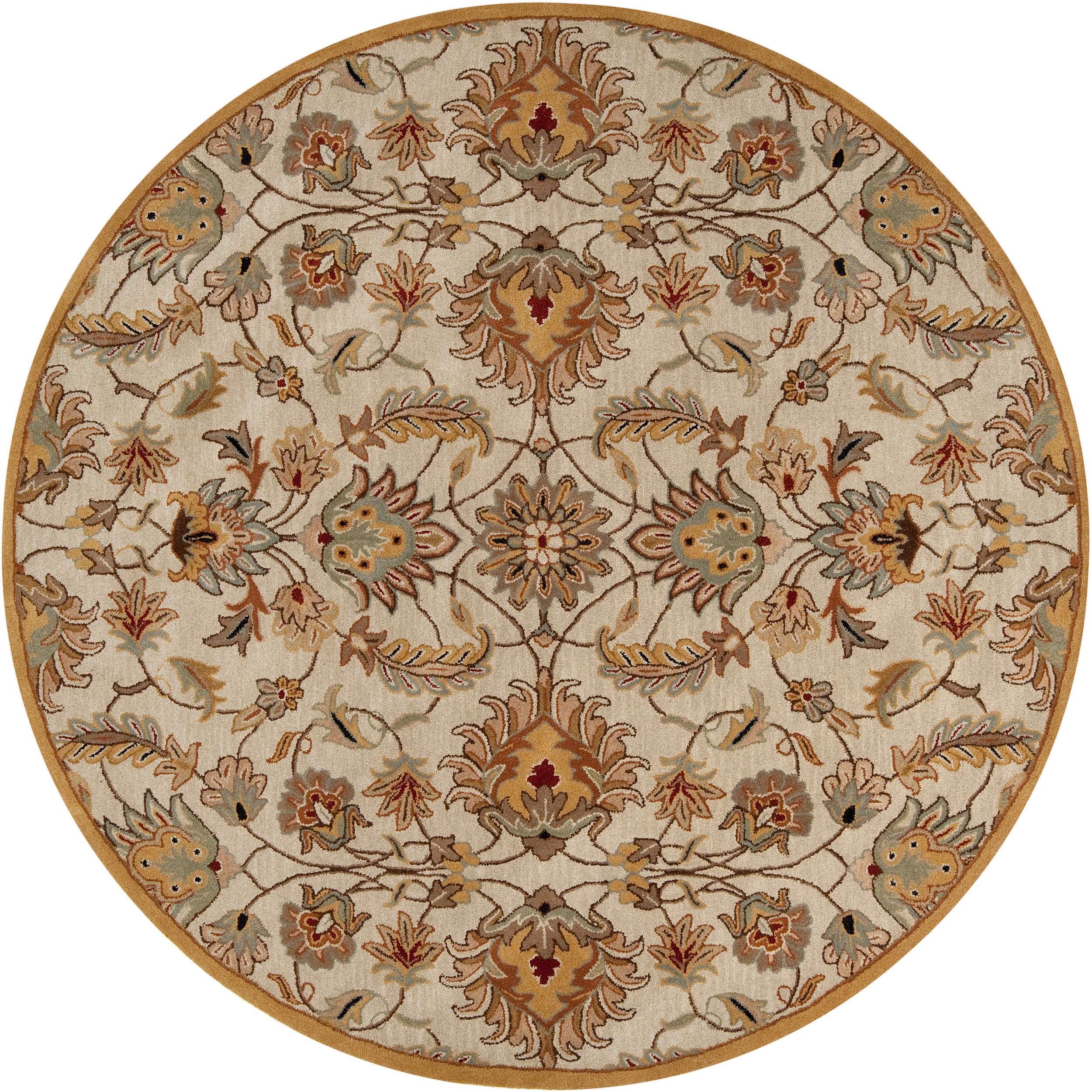 Hand Tufted Agra Red Gold Wool Rug 8 Round: Hand-tufted Gold Alamosa Wool Rug (4' Round)