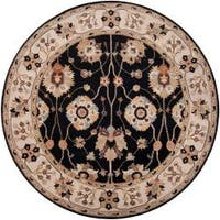 Hand-tufted Black Alsea Wool Area Rug (4' Round)