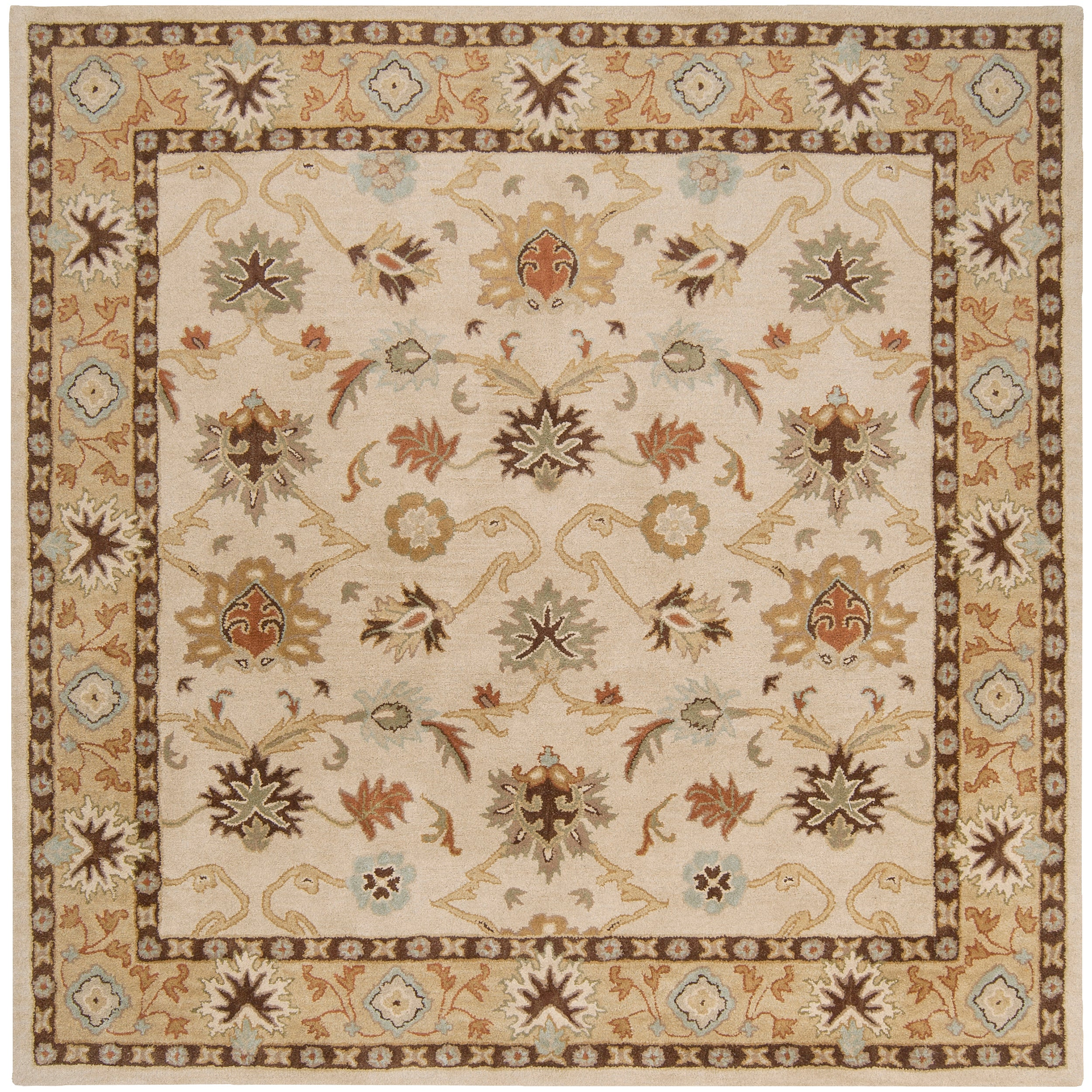 Hand-tufted Traditional Acushnet Vanilla Floral Border Wool Rug (4' Square)