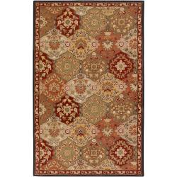 Hand-tufted Red Alum Wool Area Rug (10' x 14') - Thumbnail 0