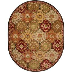 Hand-tufted Red Alum Wool Rug (6' x 9' Oval)