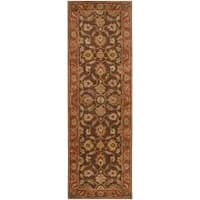 Hand-tufted Amargosa Brown Floral Border Wool Area Rug (3' x 12') - 3' x 12'