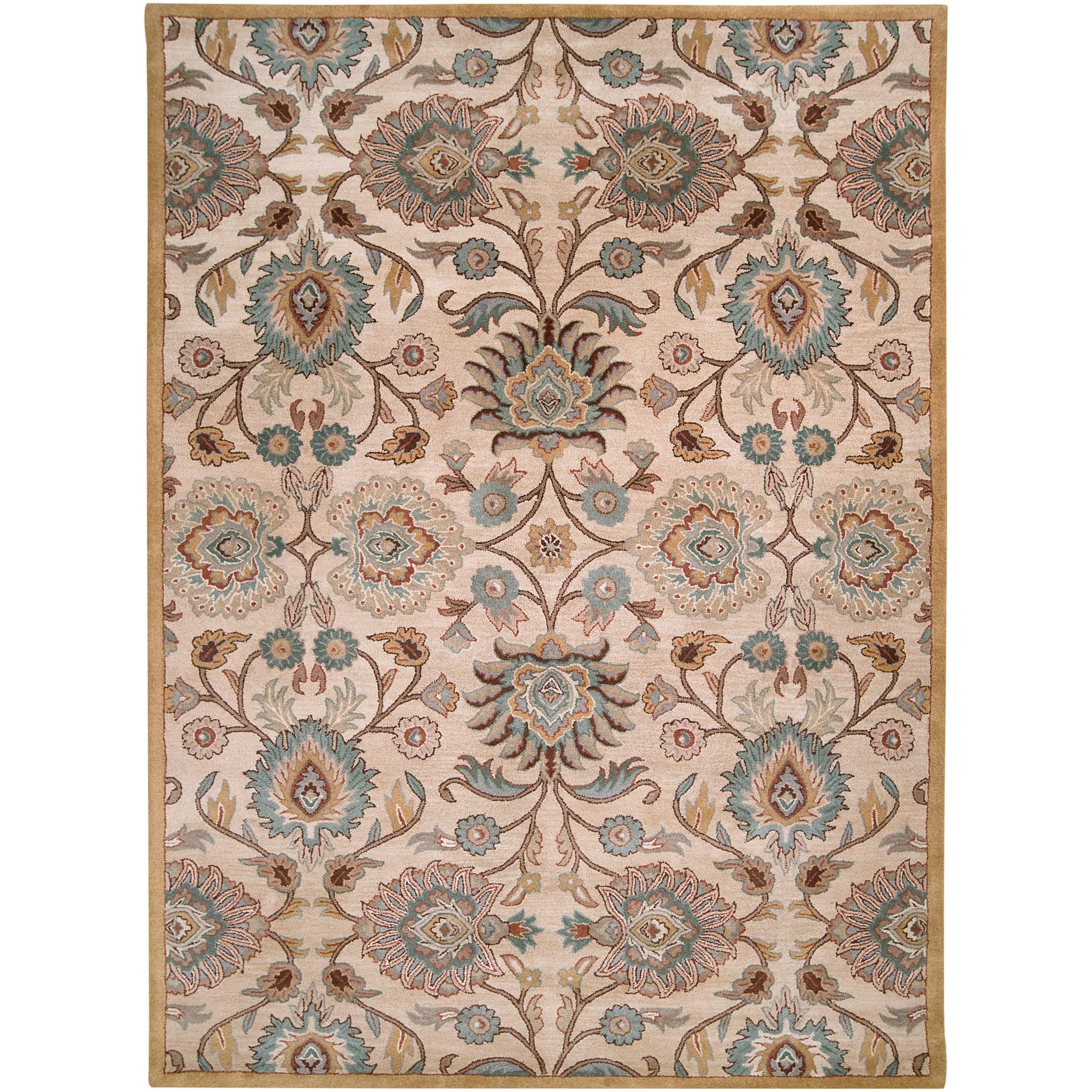 Hand Tufted Beige Floral Agawam Wool Rug 10 X 14