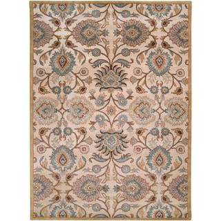 Hand-tufted Beige Floral Agawam Wool Rug (10' x 14')