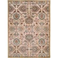 Hand-tufted Beige Floral Agawam Wool Area Rug - 10' x 14'