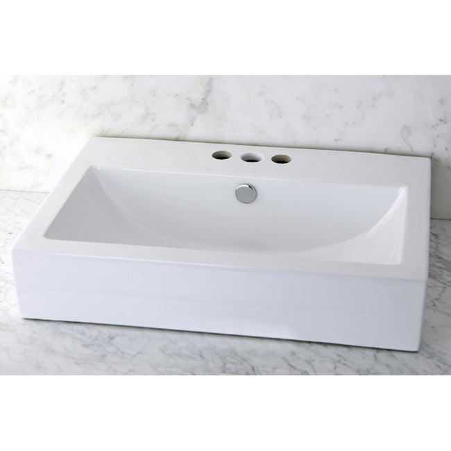 Vitreous China White Rectangular Vessel Pre Drilled Bathroom Sink