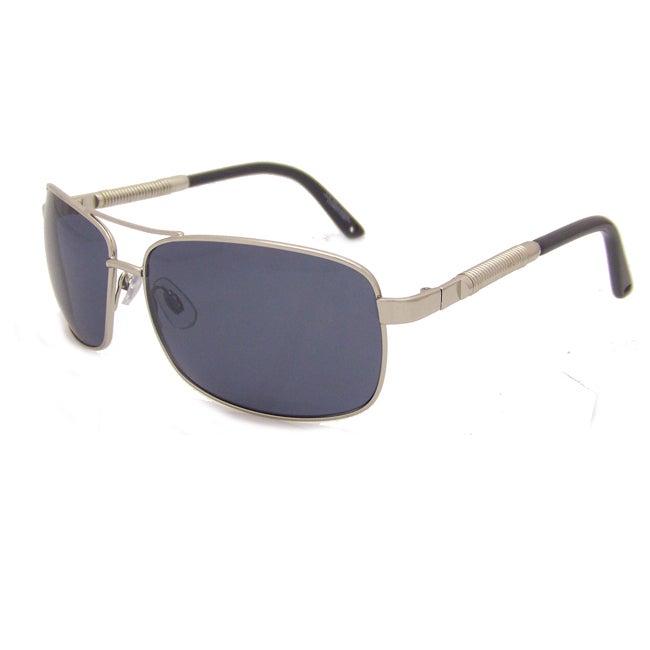 US Polo Association Men's Silver Aviator Sunglasses with Gray Polarized Lenses
