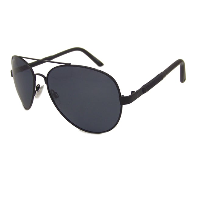 US Polo Association Mens 'Greenwich' Matte Black Metal Polarized Aviator Sunglasses - Thumbnail 0