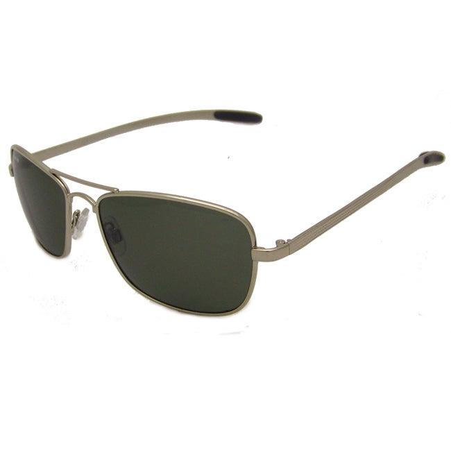 US Polo Association Mens 'Accomplice' Silvertone Polarized Square Aviator Sunglasses
