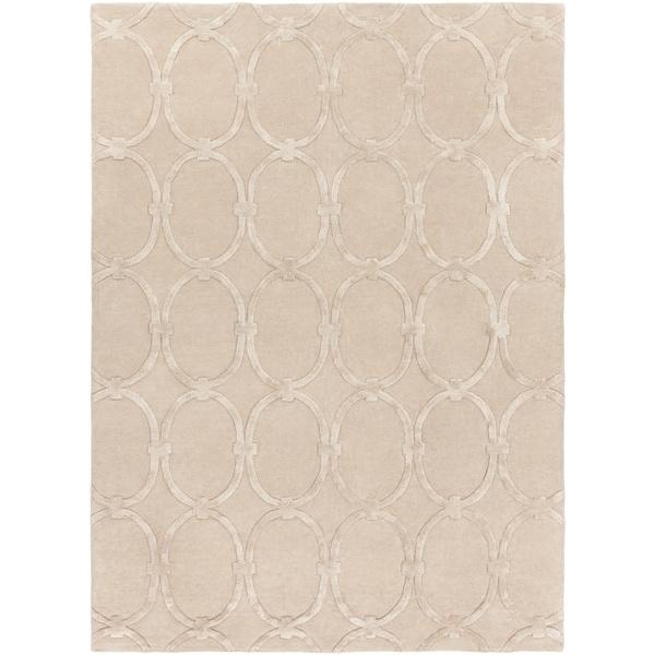Hand-tufted Beige Alhambra Trellis Pattern Wool Area Rug - 8' x 11'