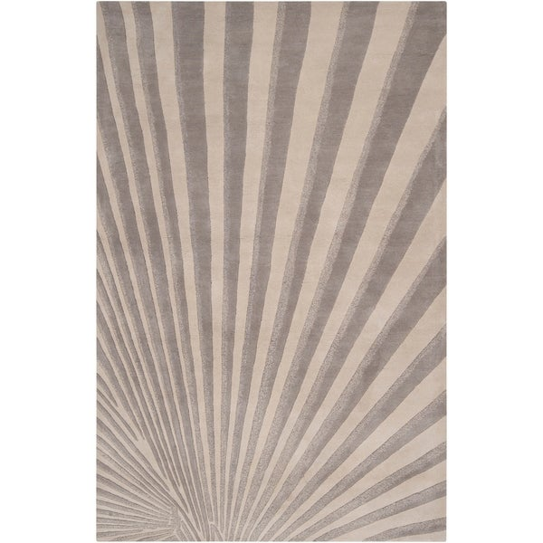 Hand-tufted Gray Notre Geometric Wool Area Rug - 5' x 8'