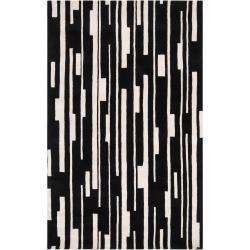 Hand-tufted Black Damede Geometric Wool Rug (5' x 8')