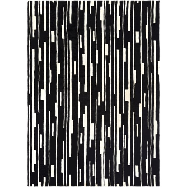 Hand-tufted Black Damede Geometric Wool Area Rug - 8' x 11'