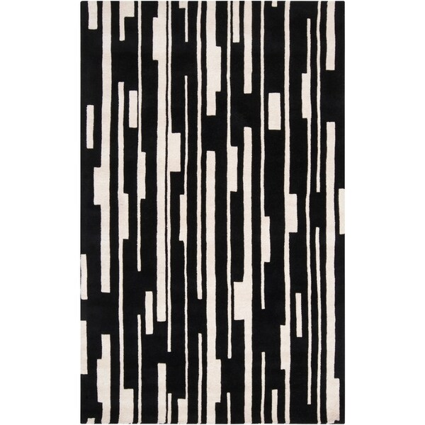 Hand-tufted Black Damede Geometric Wool Area Rug - 9' x 13'