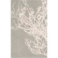 Hand-tufted Grey Eiffel Contemporary Botanical Area Rug - 5' x 8'