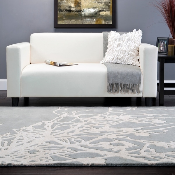 Hand-tufted Grey Eiffel Contemporary Botanical Area Rug - 8' x 11'