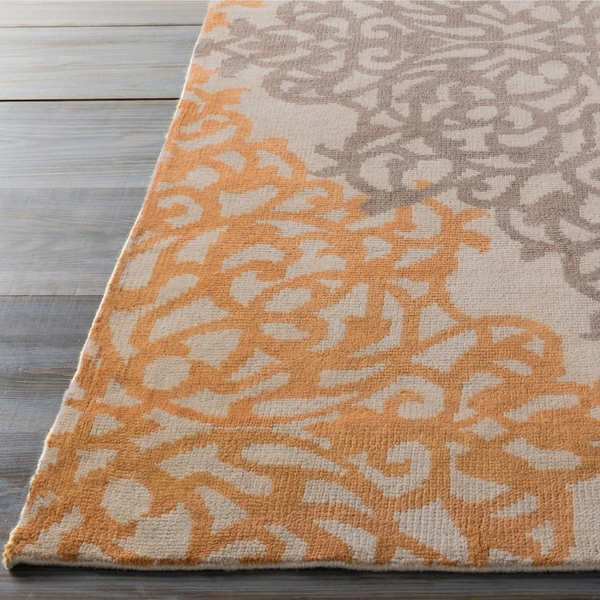 """Hand-knotted Grey Angkor New Zealand Wool Area Rug - 5'6"""" x 8'6"""""""