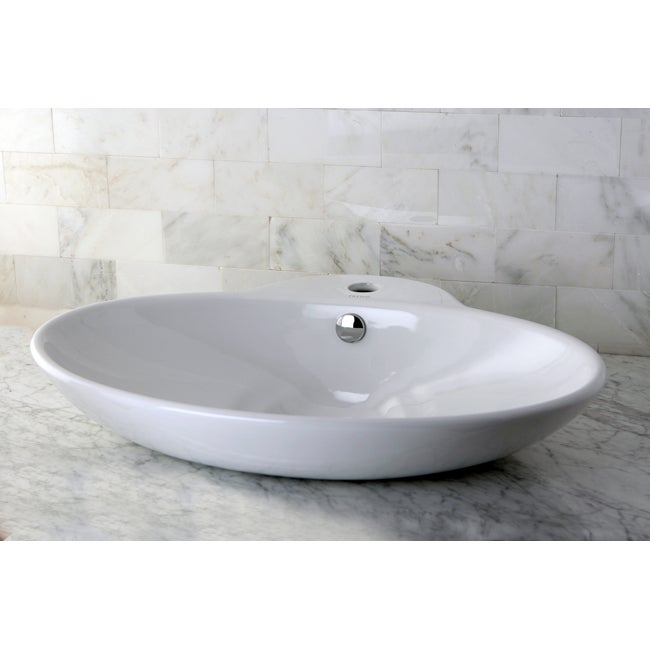 Oval Vitreous China Vessel Bathroom Sink - Thumbnail 0