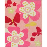 Hand-tufted Pink Machu Floral Area Rug - 8' x 10'