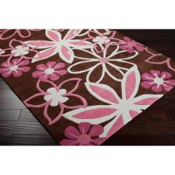 Hand-tufted Brown Picchu Floral Rug (4'10 x 7') - Thumbnail 1