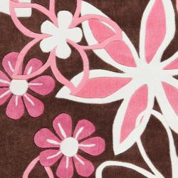 Hand-tufted Brown Picchu Floral Rug (4'10 x 7') - Thumbnail 2