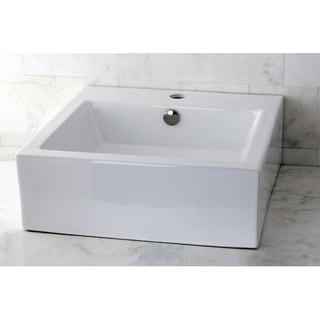 Vitreous China White Square Vessel Bathroom Sink