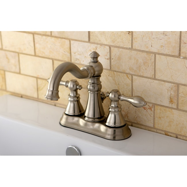 Transitional Double-handle Satin Nickel Bathroom Faucet
